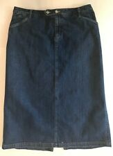 EDDIE BAUER Blue Jean Denim SKIRT Size 16 Modest Modesty Long Full #97