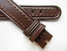 band ~ 15 mm Brown vintage leather stitched watch