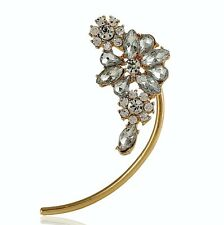 Silver Crystals Flower Cuff Earring For Non-Pierced Ear Gold Tone UK Shop