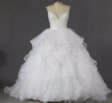 Top Beading Crystals Straps Bride Wedding Dress Organza Ruffle Skirt Bridal Gown