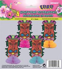"HAWAIIAN LUAU 4PK MINI TOTEM 6"" HONEYCOMB DECORATIONS PERFECT FOR BECH PARTIES"