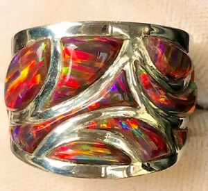 Red Opal Fire Black Curvacious Chunky Knuckle Wave Men man ring 9.5 T  Sterling