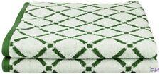 Reversible 2-pc Hunter Green & Cream Diamond Pattern Bath Towel Sheets 550GSM
