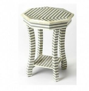 Made to Order Indian Handmade Camel Bone Inlay Hexagonal Side Table Grey Striped