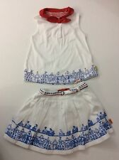 Oilily Girls Outfit, Set, Size Age 4, 104 Cm, Shorts & Top, White, Blue, Vgc
