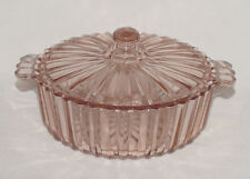"""PERFECT Vintage Pink Hocking """"FORTUNE"""" Covered Candy Dish!!"""