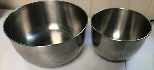 """Vintage Sunbeam Mixmaster 9"""" & 6"""" Stainless Steel Mixing Bowls - 2 Bowls"""