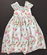 Laura Ashley London Girls Floral Dress Spring Easter Summer Blue Hydrangea 6X