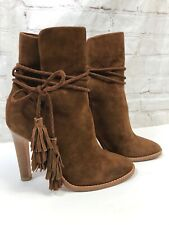 Joie Chap Brown Suede Tassle High Heel Ankle Boots Size 36