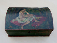 Schöne Jugendstil Schmuckschatulle mit gemalten Aktmotiv um 1900-1919