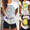 Size Womens Summer Holiday Hippie T Shirt Ladies Loose Feather Print Tops Blouse