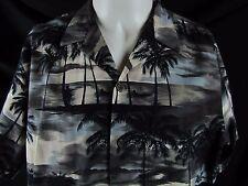 RJC Hawaiian Shirt Palm Tree Hammock Island Aloha Short Sleeve Black Blue Large