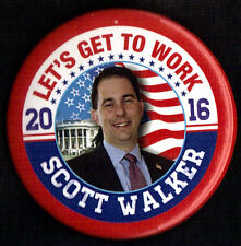 "2016 Scott Walker 2 1/4"" Presidential Campaign Button (Pin 02)"