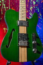 Fool Transparent Green Telematic Tele Thinline Neck-Through with Wide Range!