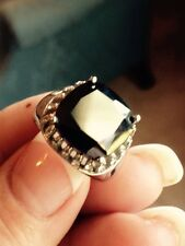 5 CT BLACK CUBIC ZIRCONIA, AUSTRIAN CRYSTAL RING IN STAINLESS STEEL, SZ 8