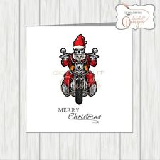 Motorbike Motorcycle Biker Christmas Card Skeleton Skull Santa Rider