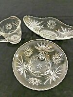 Cut Glass 3 Piece Set Vintage Handled Creamer, oblong bowl and footed bowl