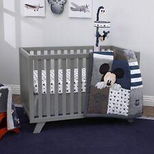 Disney Mickey Mouse Hello World Denim/Star/Icon 4 Piece Nursery Crib Bedding Set