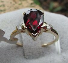 2.26 cts Genuine Rajasthan Garnet Solitaire Size 7 Ring 10k Yellow Gold w/Accent