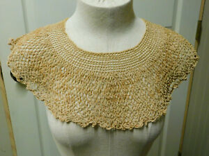 Antique mid 1800's Handmade Hand CROCHETED LACE COLLAR Ecru Vintage