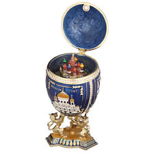 Russian Faberge Egg 3 Sights of Moscow & Saint-Basil's Cathedral 7.1'' 18cm blue