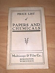 1910's MULTISCOPE & FILM CO. Price List of Papers and Chemicals BURLINGTON WISC.