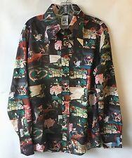 Fab VTG 70s Mens L Disco Shirt Kennington Walt DISNEY Print ALICE in WONDERLAND
