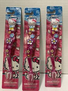Lot 3 Hello Kitty Toothbrushes Kids Oral B Pink Soft Fun Cute Girl