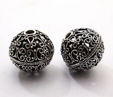 3 PCS 20MM STERLING SILVER PLATED 18K GOLD PLATED COPPER BALI BEAD  B 32