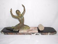11D7 ANCIENNE STATUE FEMME DANSEUSE ART DÉCO RÉGULE PATINE BRONZE SIGNE H.MOLINS
