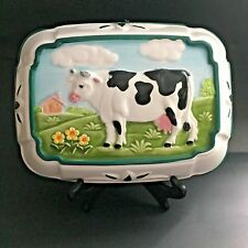 Colorful Cow Kitchen Decor Molded Glass Dish Green Trim Milk Cow in Pasture