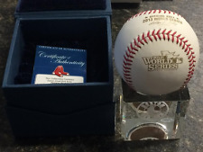 Red Sox 2013 World Series Baseball w/ Game Used Dirt Crystal Cube - Steiner COA