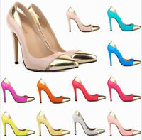 Womens Stitching Colors High Heels Stilettos Ladies Shoes Party Pointy Toe Pumps