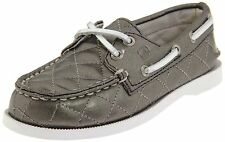 NWT Sperry Kids Quilted A/O Slip On Leather Boat Shoes/Moccasins Silver 13.5