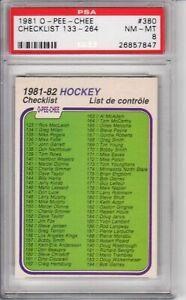 1981-82 O-Pee-Chee OPC Checklist #380 PSA 8 NM-MT 133-264