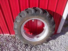 "Farmall 100 130 SA A tractor 11.2 - 24"" farm hand tread tire & REPAINTED IH rim"