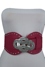 New Women Fashion Wide Pink Corset Belt Stretch Silver Metal Infinity Buckle S M