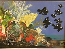 More details for painting of a reef scene with black fish - signed with inscription on the back