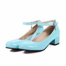 Womens Kitten Heels Round Toe Patent Leather Mary Jane Ankle Strappy Cute Shoes
