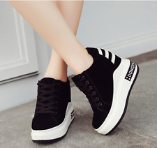 Women Wedge Hidden Lace Up Platform Creepers Shoes High Heel Casual Sneaker Size