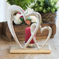 Silver Wooden Double Heart Pillar Tealight Candle Holder Romantic Ornament Gift