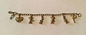 Vintage Walt Disney Productions Child Size Charm Bracelet Gold Tone 6 charms WDP