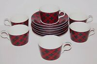 LOVELY SET OF 6 SASAKI TARTAN PLAID RED BY CHARLES ROBERTS CUPS & SAUCERS