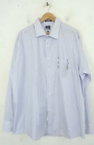NWT ARROW Mens Size 18.5 36/37 Classic Fit Blue White & Pink Striped Dress Shirt