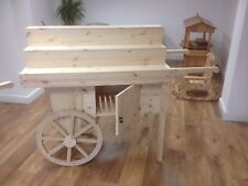 Display barrow cart stand rustic solid pine moveable market stall