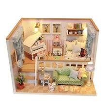 DIY Wood Miniature Doll House Kits w/ Dust Cover &LED Light- Because of You