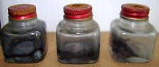 Lot of 3 Vintage Ink Bottles w/Red Metal Caps, Empty