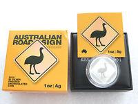 2015 Australien Emu Straßenschild $1 ein Dollar Silber 1oz Münze Etui Coa