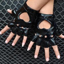 Women Punk Leather Driving Biker Fingerless Mittens Dance Motorcycle Gloves BDAU