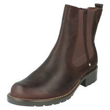 Ladies Clarks Chelsea Pull on BOOTS Orinoco Club 6 UK Burgundy D